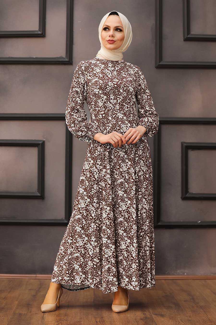 Brown Hijab Dress 27618KH