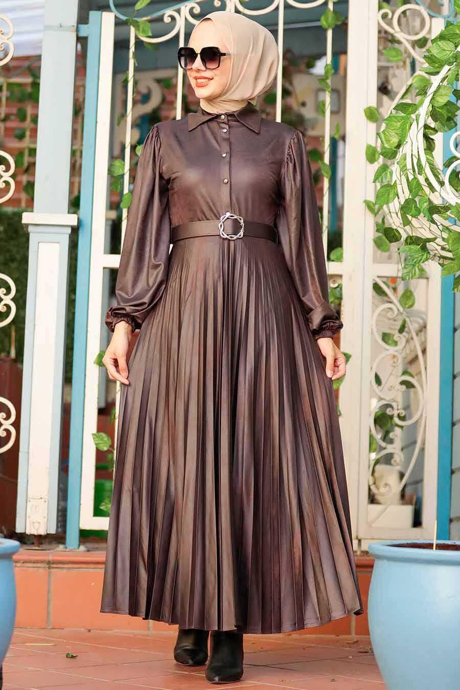 Brown Hijab Dress 7630KH