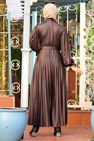 Brown Hijab Dress 7630KH - Thumbnail