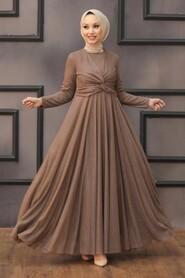 Brown Hijab Evening Dress 5397KH - Thumbnail
