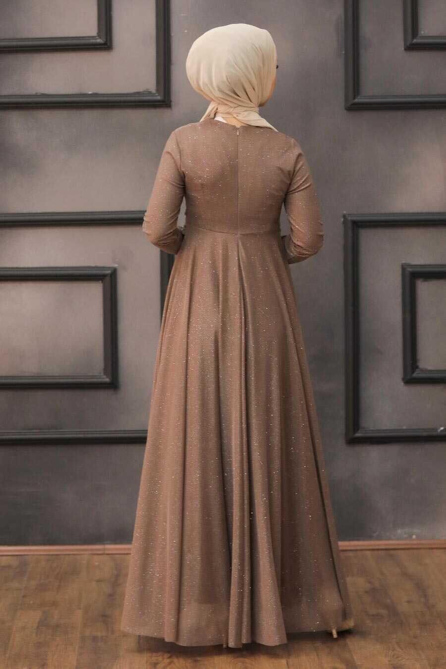 Brown Hijab Evening Dress 5397KH