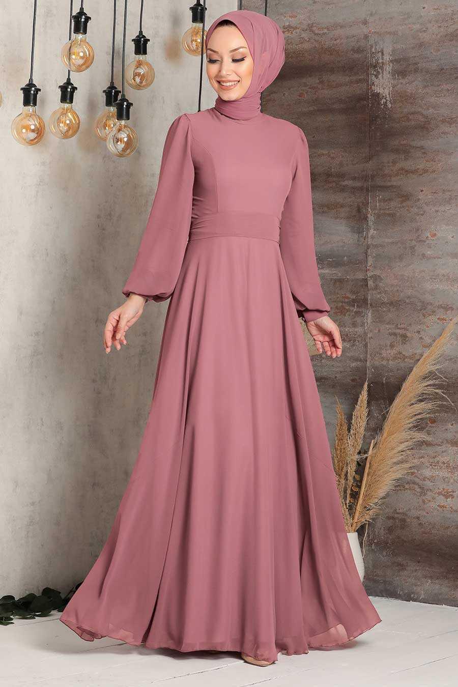 Brown Hijab Evening Dress 5470KH