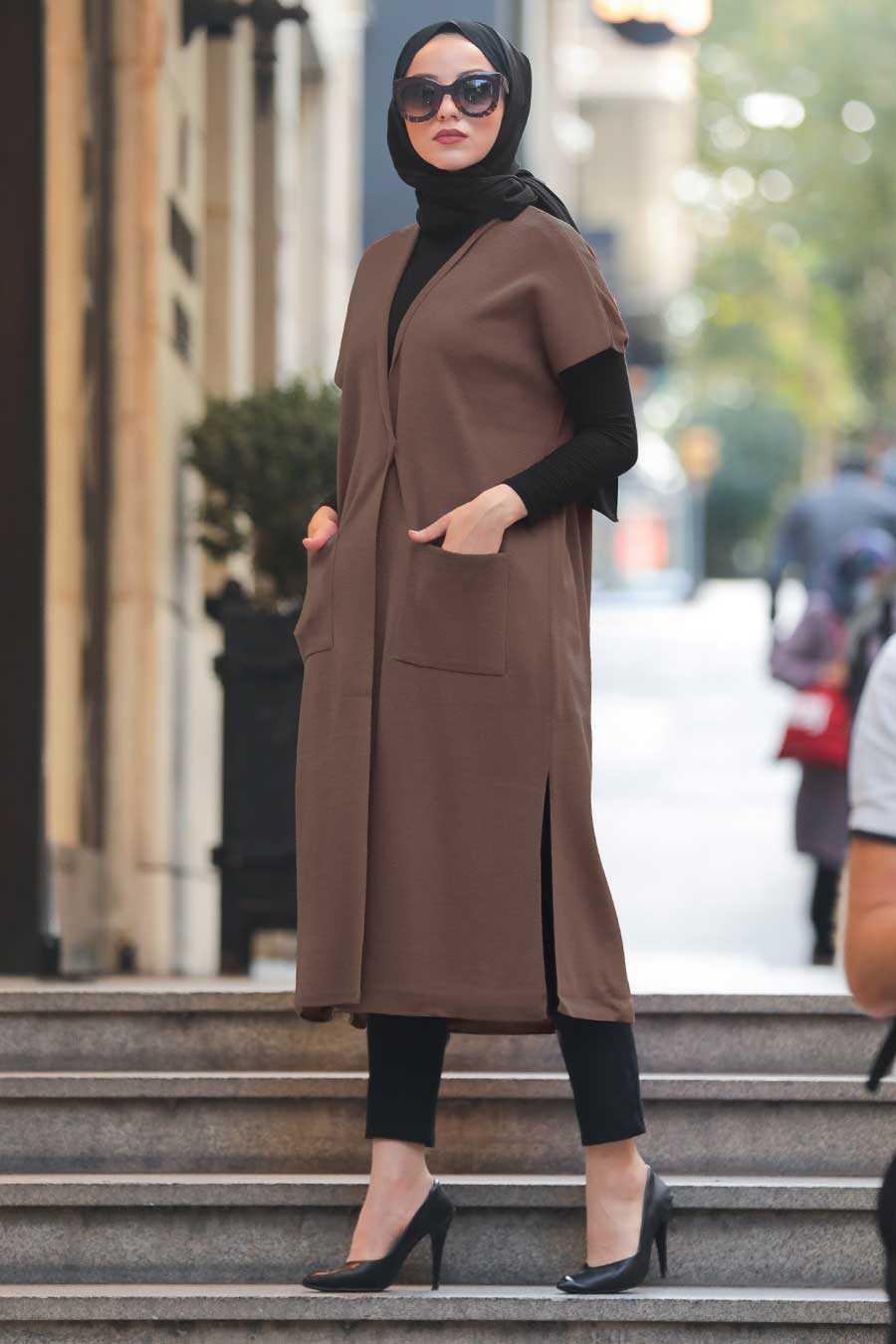Brown Hijab Knitwear Vest 21920KH