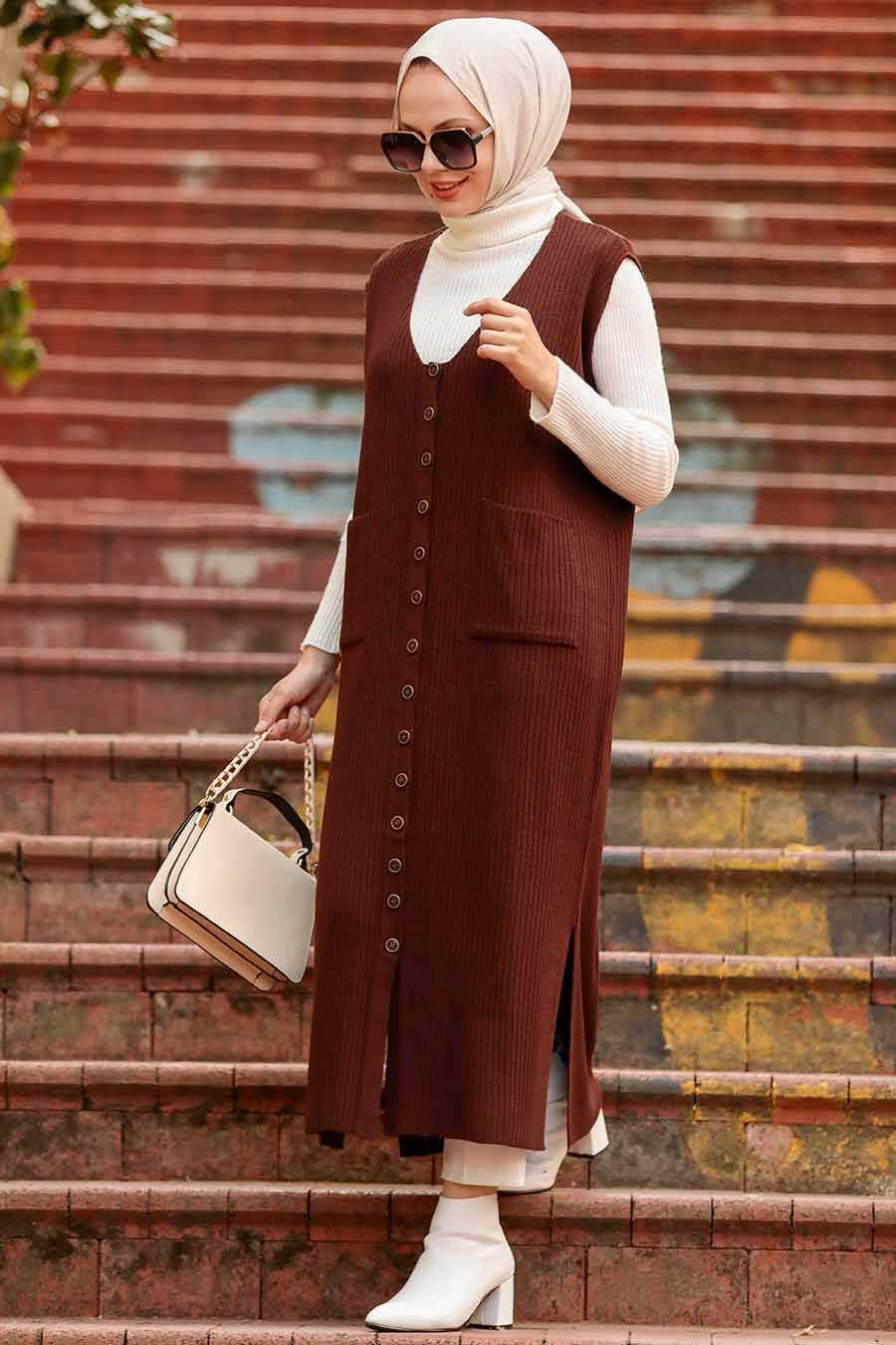 Brown Hijab Knitwear Vest 3324KH