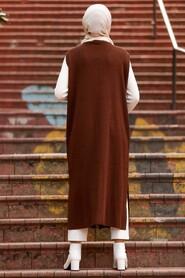 Brown Hijab Knitwear Vest 3324KH - Thumbnail