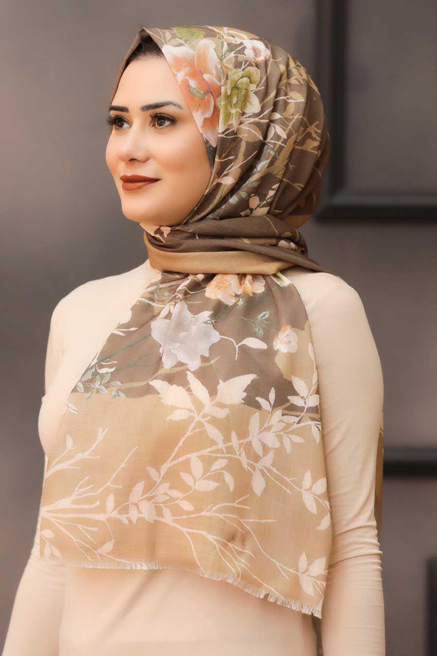Brown Hijab Shawl 7565KH
