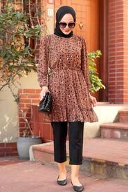 Brown Hijab Tunic 70420KH - Thumbnail