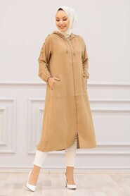 Camel Hijab Coat 14650C - Thumbnail