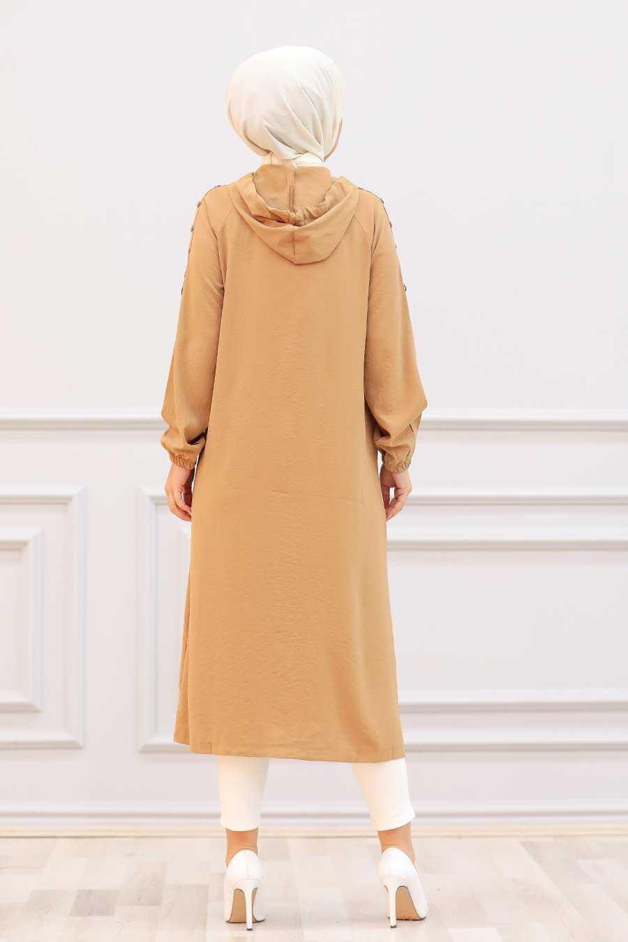 Camel Hijab Coat 14650C