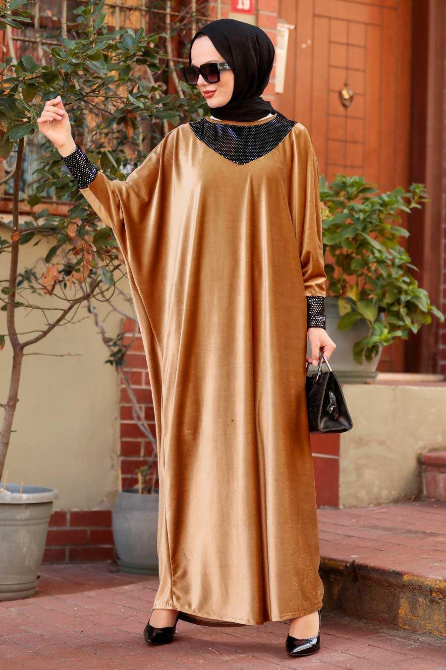 Camel Hijab Dress 10561C