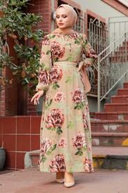 Camel Hijab Dress 71020C - Thumbnail