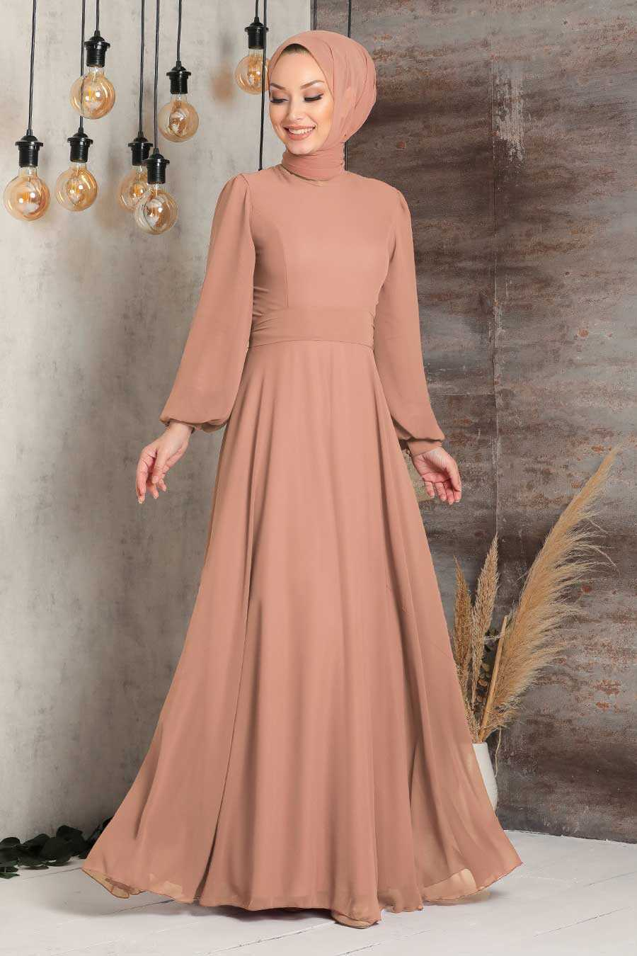 Camel Hijab Evening Dress 5470C