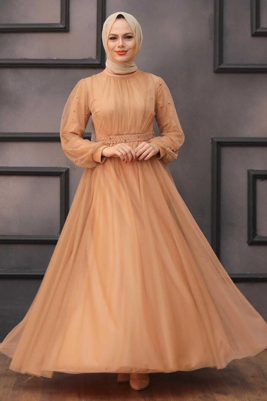 Camel Hijab Evening Dress 5514C
