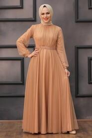 Camel Hijab Evening Dress 5514C - Thumbnail