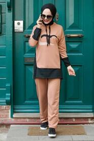 Camel Hijab Suit Dress 1542C - Thumbnail