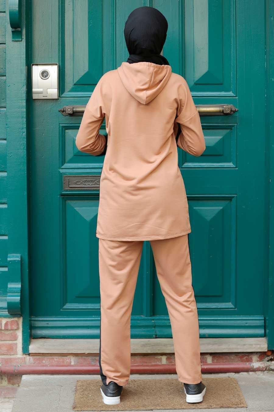 Camel Hijab Suit Dress 1542C