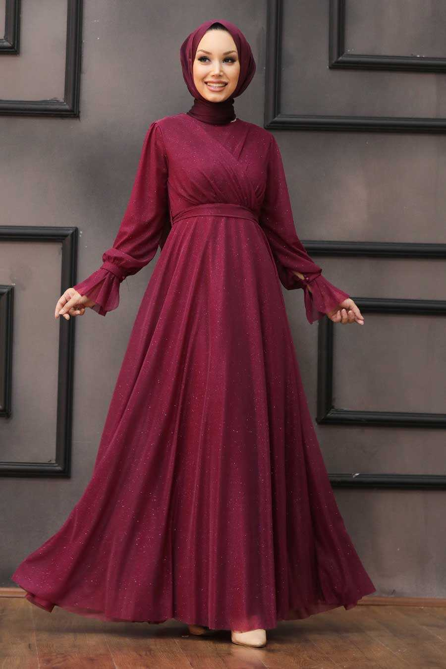 Cherry Hijab Evening Dress 22202VSN