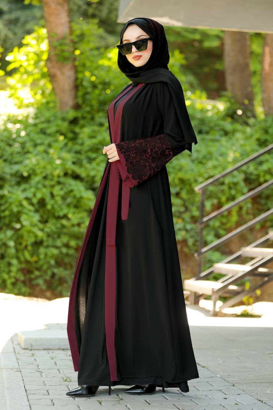 Claret Red Hijab Abaya 55084BR