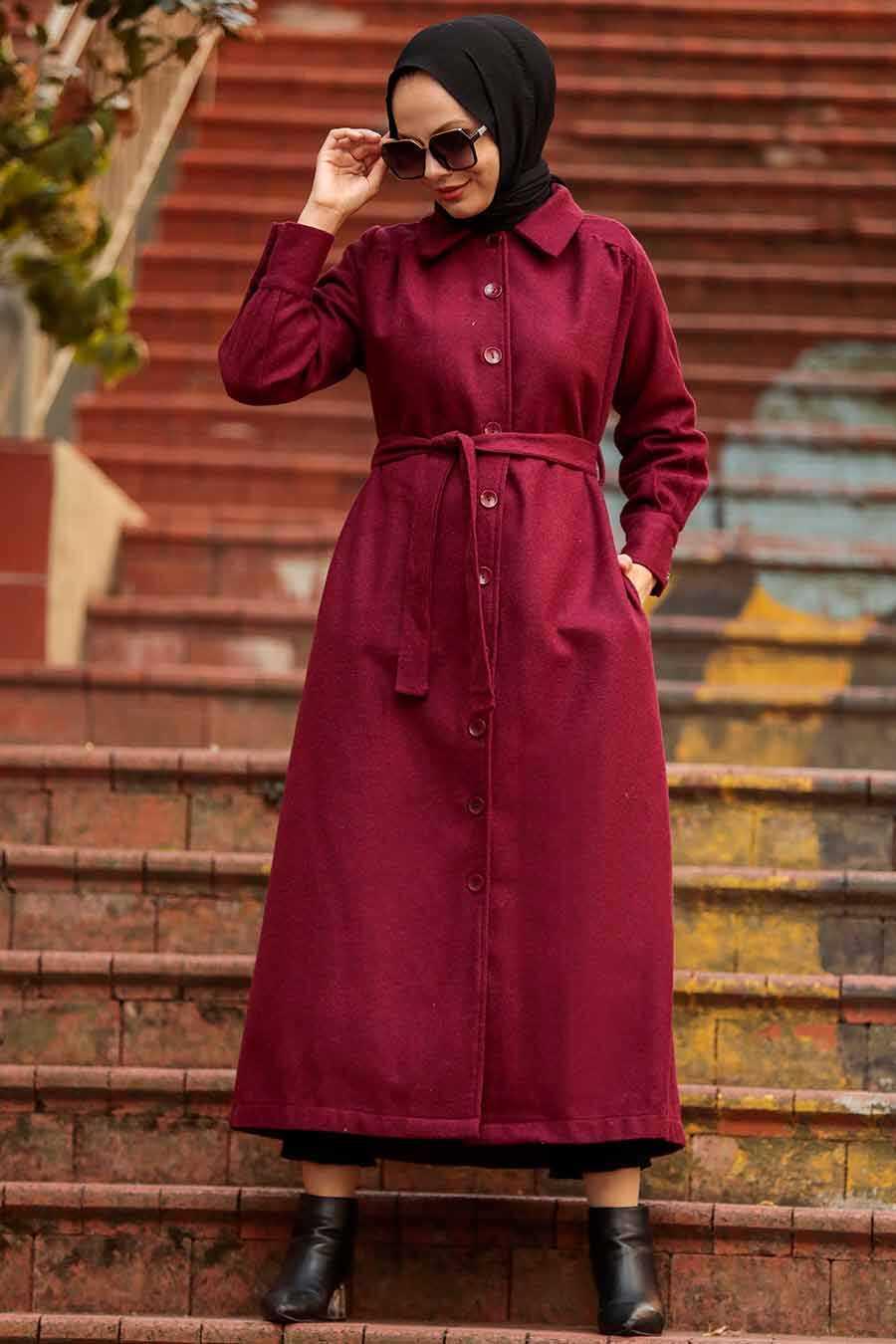 Claret Red Hijab Coat 4554BR