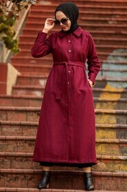 Claret Red Hijab Coat 4554BR - Thumbnail