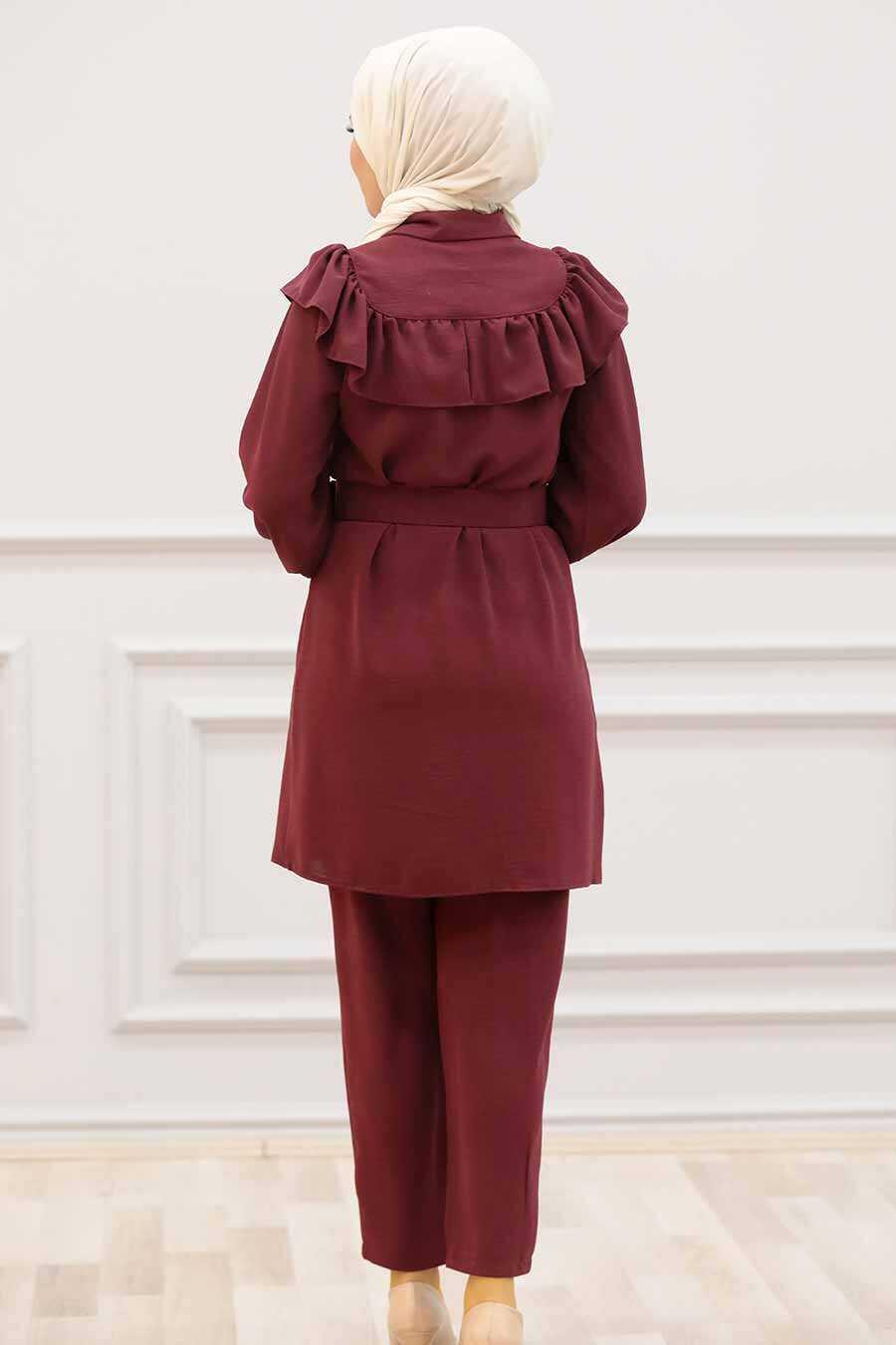 Claret Red Hijab Dual Suit Dress 14701BR