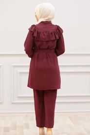 Claret Red Hijab Dual Suit Dress 14701BR - Thumbnail