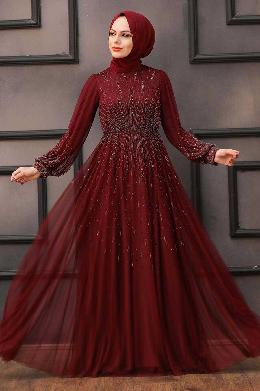 Claret Red Hijab Evening Dress 22021BR