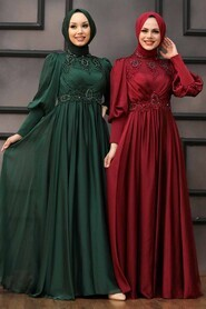 Claret Red Hijab Evening Dress 22101BR - Thumbnail