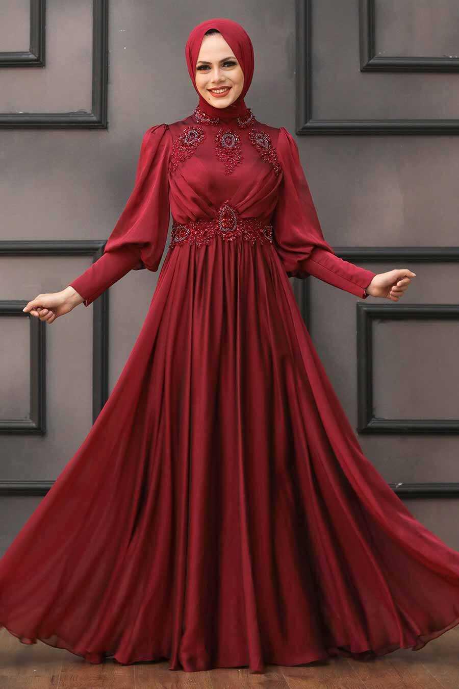 Claret Red Hijab Evening Dress 22101BR