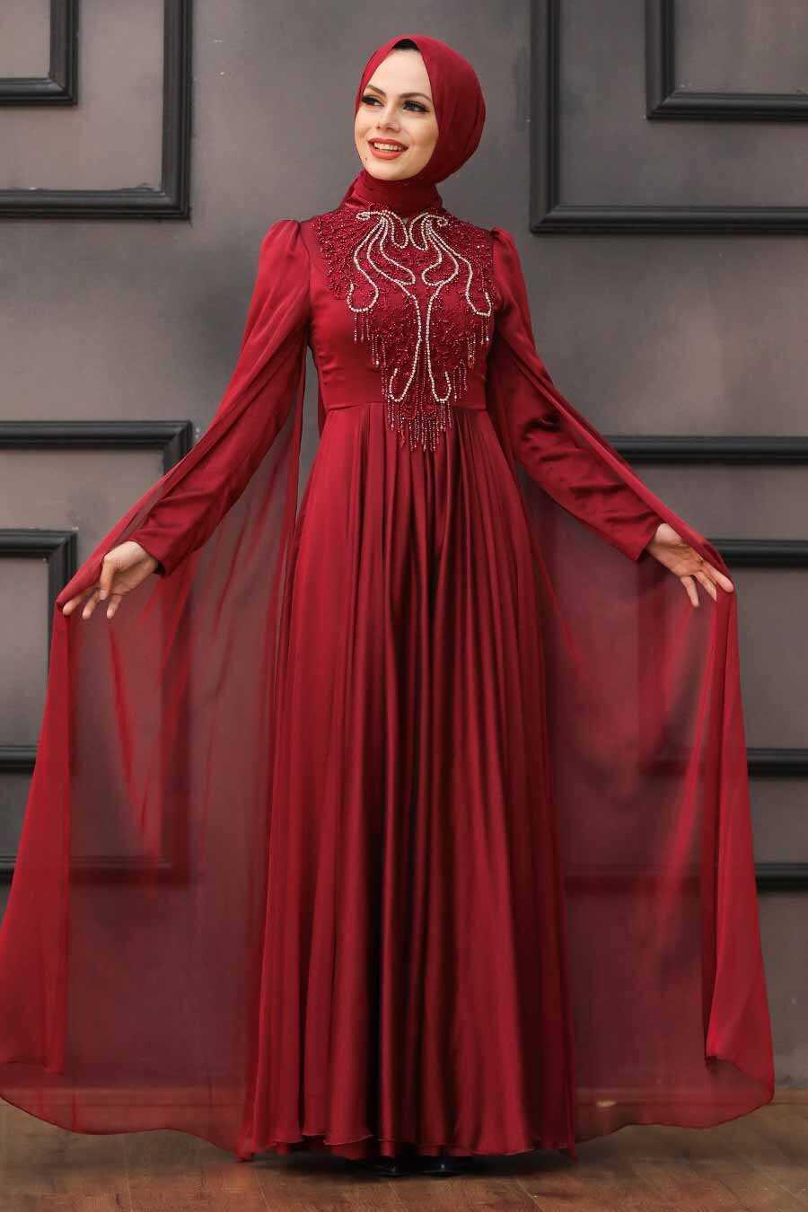 Claret Red Hijab Evening Dress 22140BR