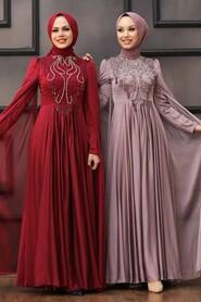 Claret Red Hijab Evening Dress 22140BR - Thumbnail