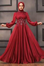 Claret Red Hijab Evening Dress 22150BR - Thumbnail