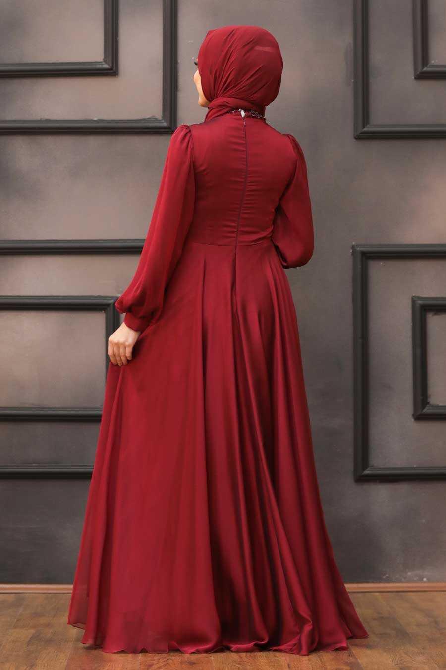 Claret Red Hijab Evening Dress 22150BR