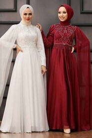 Claret Red Hijab Evening Dress 22162BR - Thumbnail