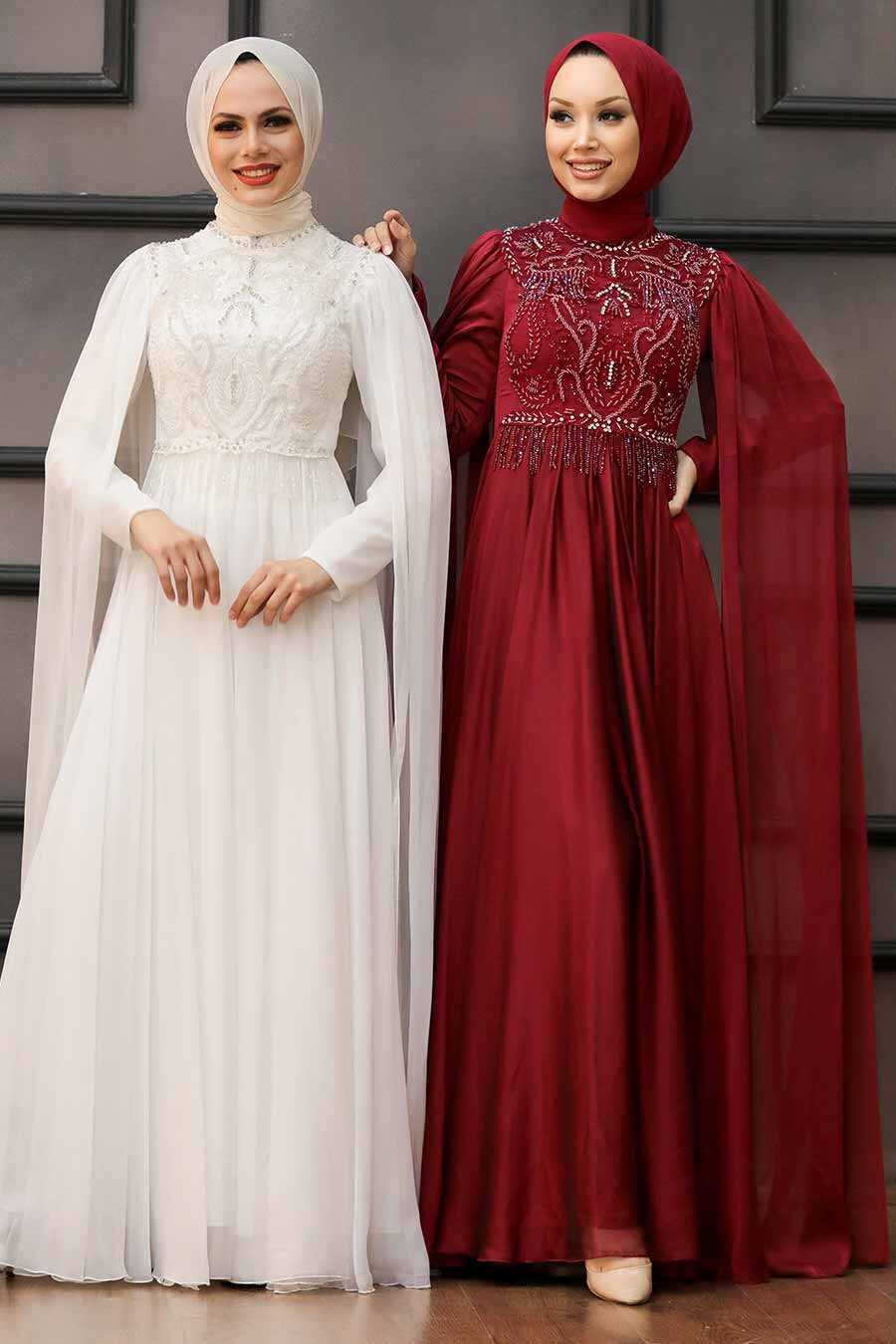 Claret Red Hijab Evening Dress 22162BR