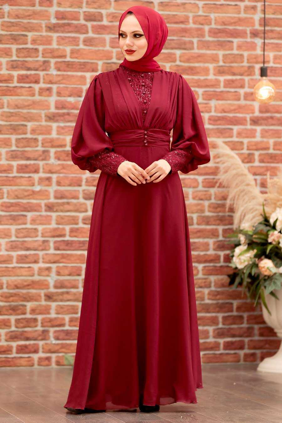 Claret Red Hijab Evening Dress 25810BR