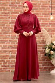 Claret Red Hijab Evening Dress 25810BR - Thumbnail
