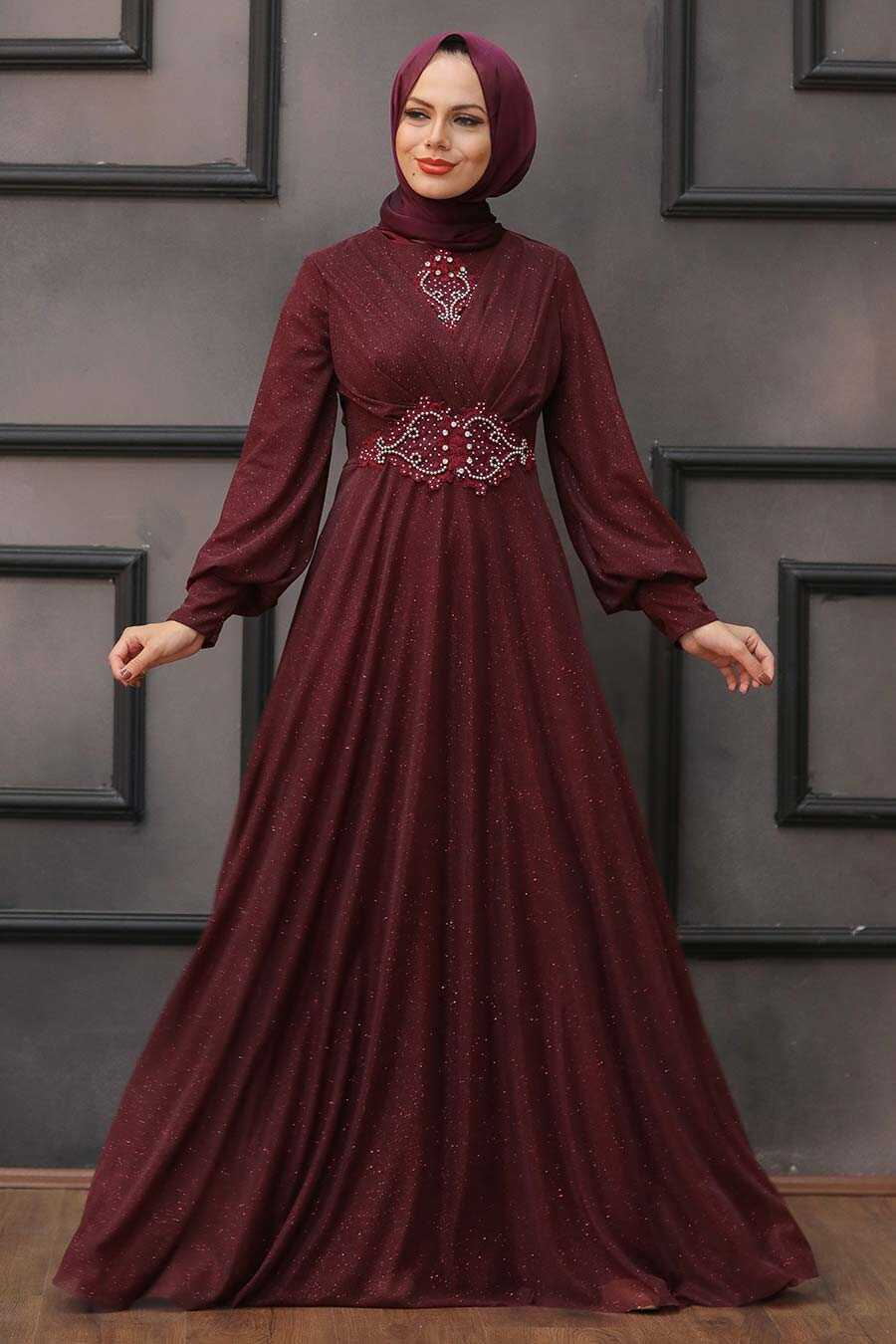 Claret Red Hijab Evening Dress 50151BR