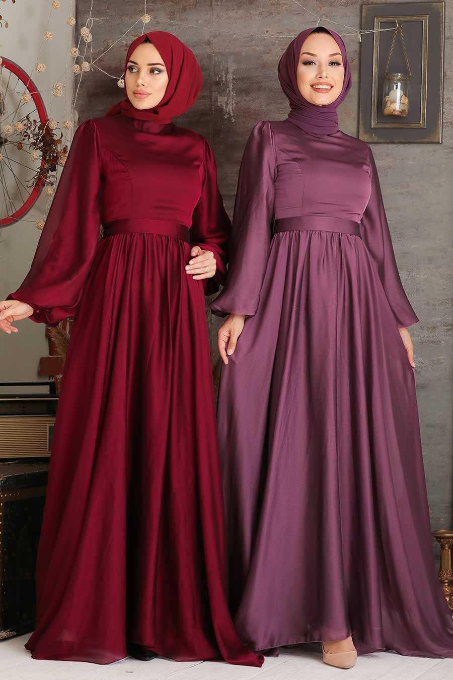 Claret Red Hijab Evening Dress 5215BR