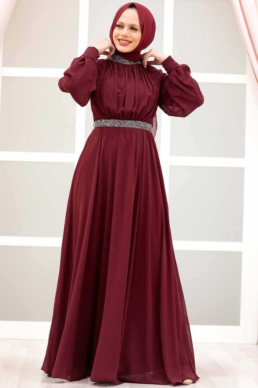 Claret Red Hijab Evening Dress 5339BR