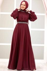 Claret Red Hijab Evening Dress 5339BR - Thumbnail