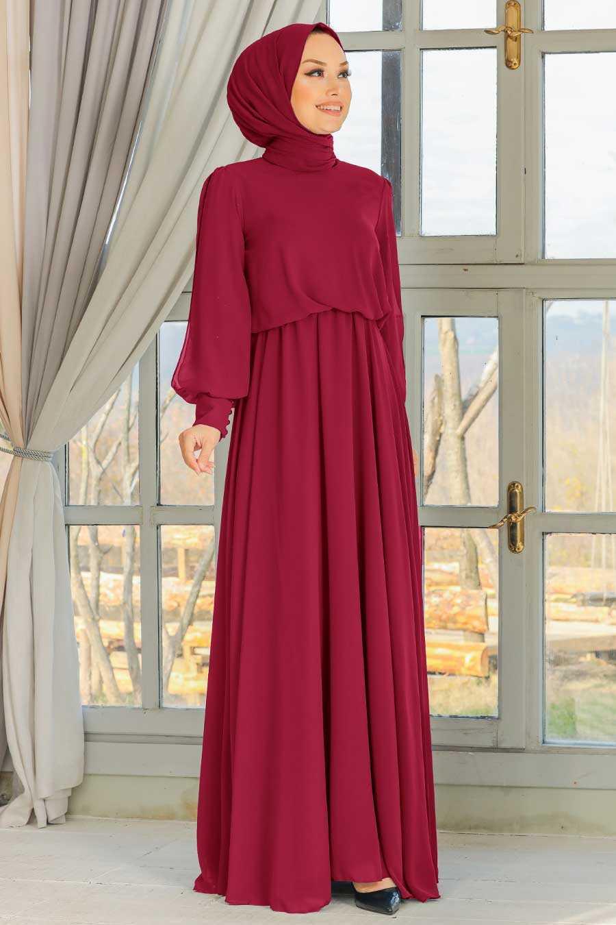Claret Red Hijab Evening Dress 54030BR