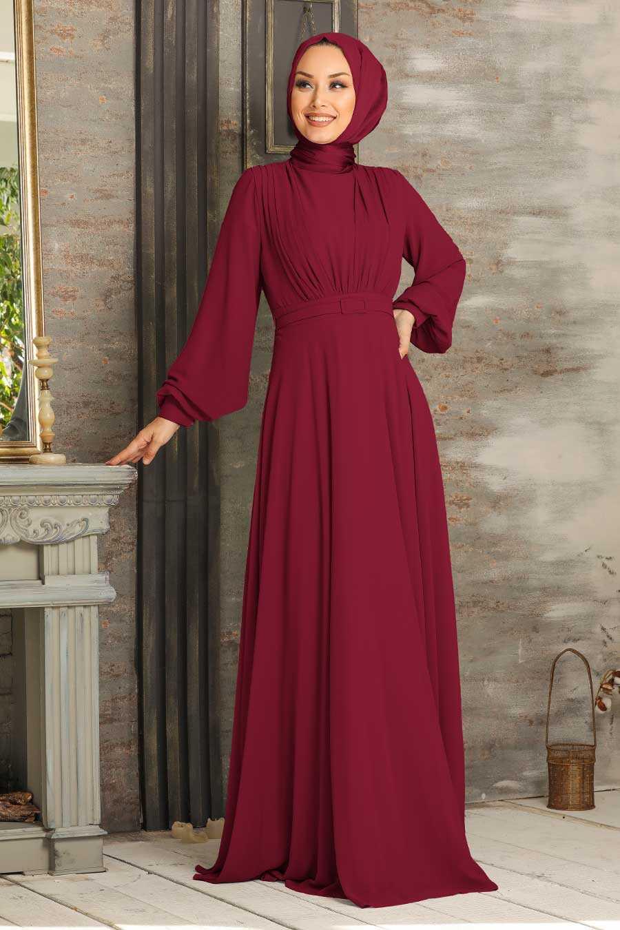 Claret Red Hijab Evening Dress 5422BR