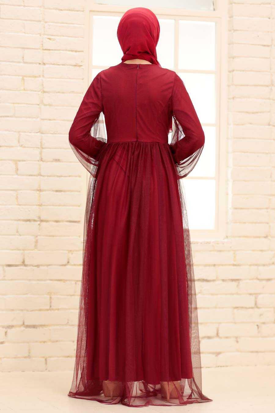 Claret Red Hijab Evening Dress 54230BR