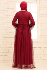 Claret Red Hijab Evening Dress 54230BR - Thumbnail