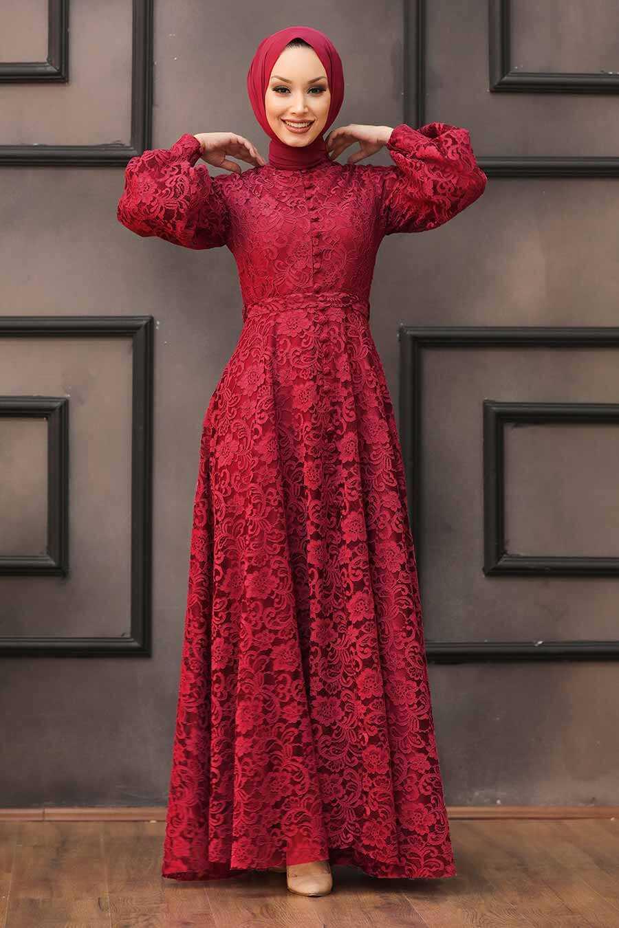 Claret Red Hijab Evening Dress 5477BR