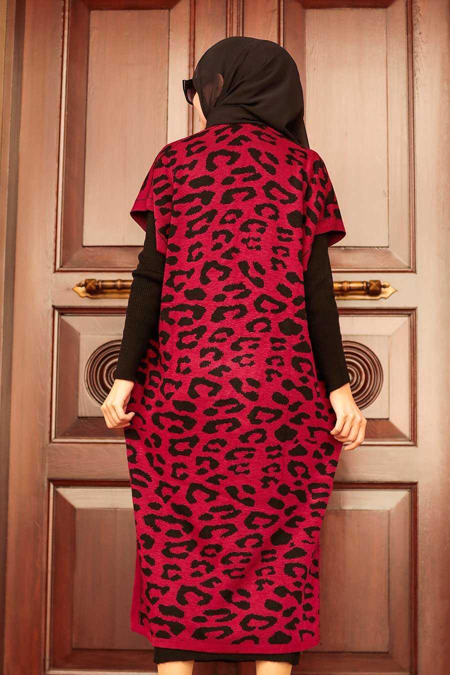 Claret Red Hijab Knitear Suit Dress 3192BR