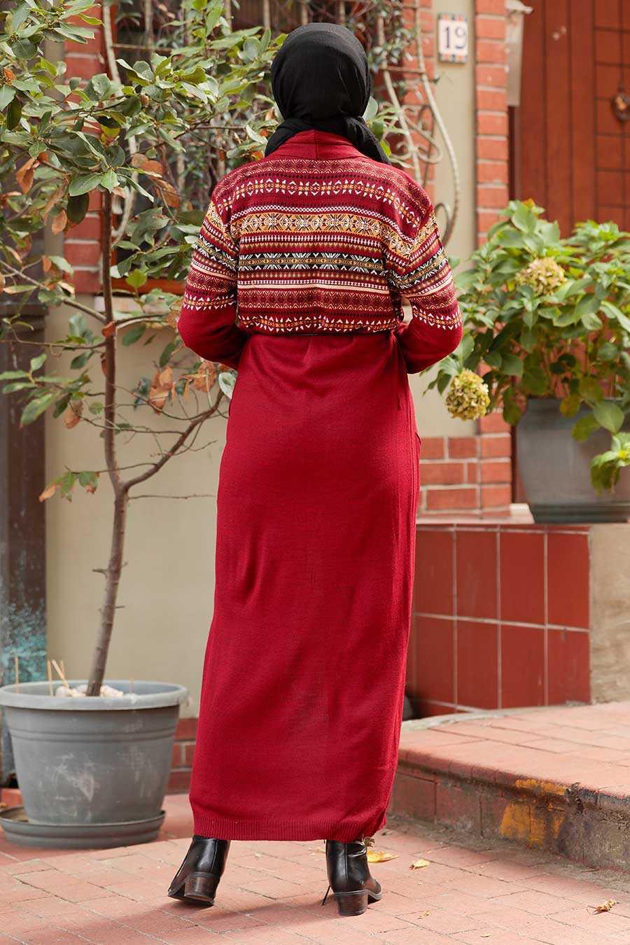 Claret Red Hijab Knitwear Cardigan 15725BR