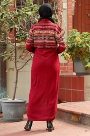 Claret Red Hijab Knitwear Cardigan 15725BR - Thumbnail