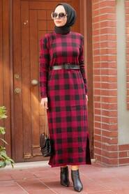 Claret Red Hijab Knitwear Dress 3048BR - Thumbnail